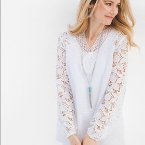 Chico's Floral Lace Sleeve Top